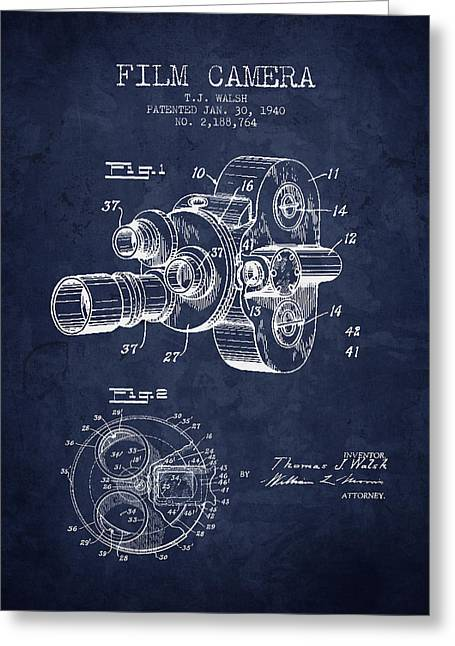 Camera Greeting Cards - 1938 Film Camera Patent - Navy Blue - NB Greeting Card by Aged Pixel
