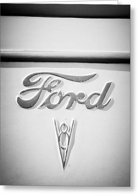 Ford V8 Greeting Cards - 1938 Ford Rat Rod Panel Truck V8 Emblem -ck0119bw Greeting Card by Jill Reger