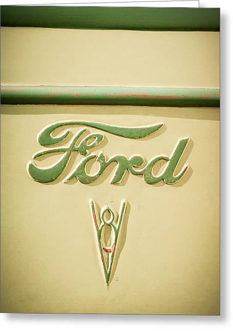 Famous Photographers Greeting Cards - 1938 Ford Rat Rod Panel Truck V8 Emblem -ck0119c Greeting Card by Jill Reger