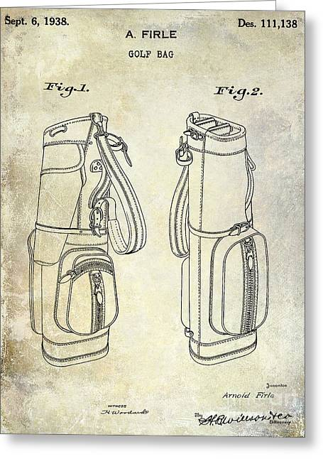 Caddy Photographs Greeting Cards - 1938 Golf Bag Patent Greeting Card by Jon Neidert