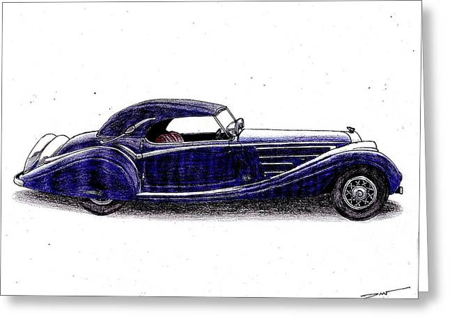 Veteran Drawings Greeting Cards - 1938 Horch 853a Greeting Card by Dan Poll