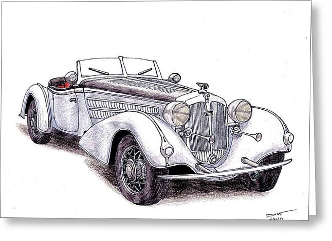 Veteran Drawings Greeting Cards - 1938 Horch 855 Greeting Card by Dan Poll