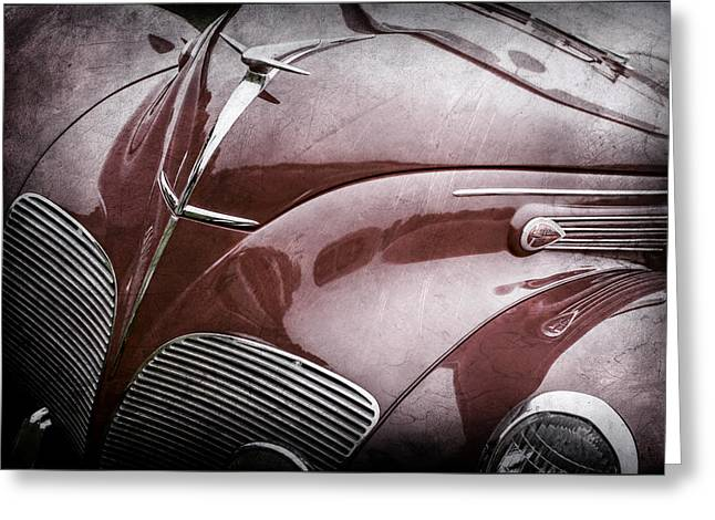 1938 Lincoln-zephyr Convertible Coupe Grille - Hood Ornament - Emblem -0108ac Greeting Card by Jill Reger