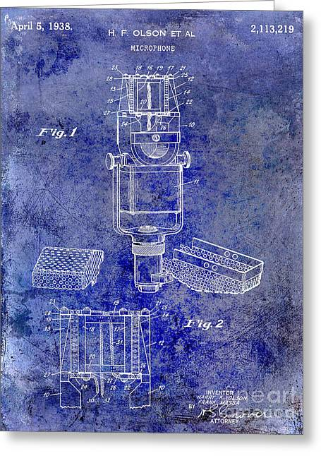 1938 Microphone Patent Drawing Blue Greeting Card by Jon Neidert