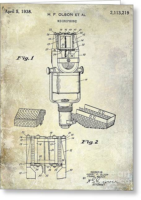 1938 Microphone Patent Drawing Greeting Card by Jon Neidert