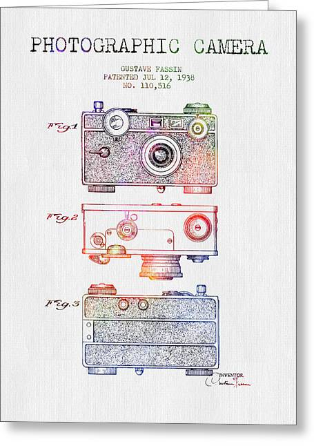 Famous Photographer Drawings Greeting Cards - 1938 Photographic Camera Patent - Color Greeting Card by Aged Pixel