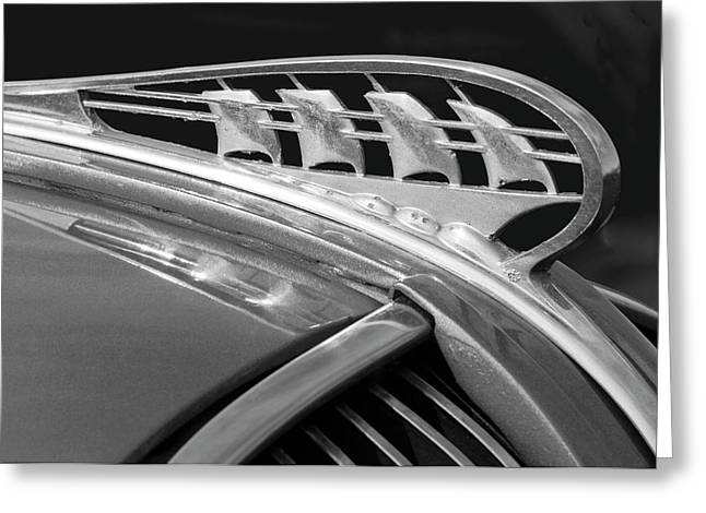 Collector Hood Ornament Greeting Cards - 1938 Plymouth Hood Ornament 2 Greeting Card by Jill Reger