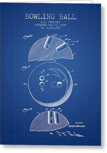 Boule Greeting Cards - 1939 Bowling Ball Patent - Blueprint Greeting Card by Aged Pixel
