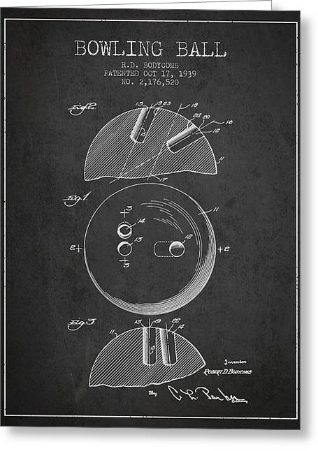 Boule Greeting Cards - 1939 Bowling Ball Patent - Charcoal Greeting Card by Aged Pixel