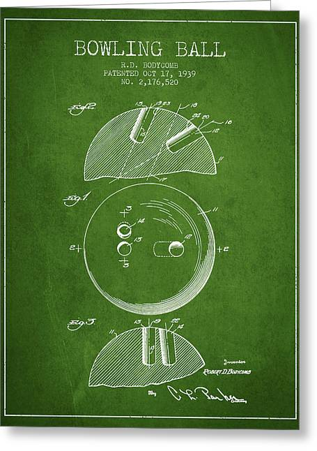 Carpet Drawings Greeting Cards - 1939 Bowling Ball Patent - Green Greeting Card by Aged Pixel