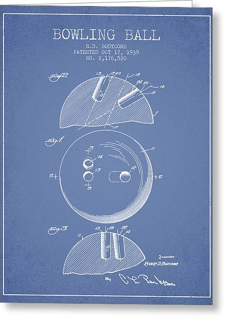 Boule Greeting Cards - 1939 Bowling Ball Patent - Light Blue Greeting Card by Aged Pixel