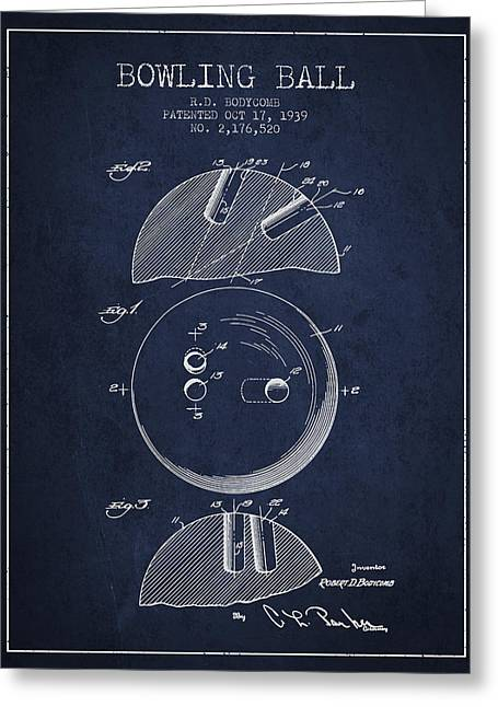 Boule Greeting Cards - 1939 Bowling Ball Patent - Navy Blue Greeting Card by Aged Pixel