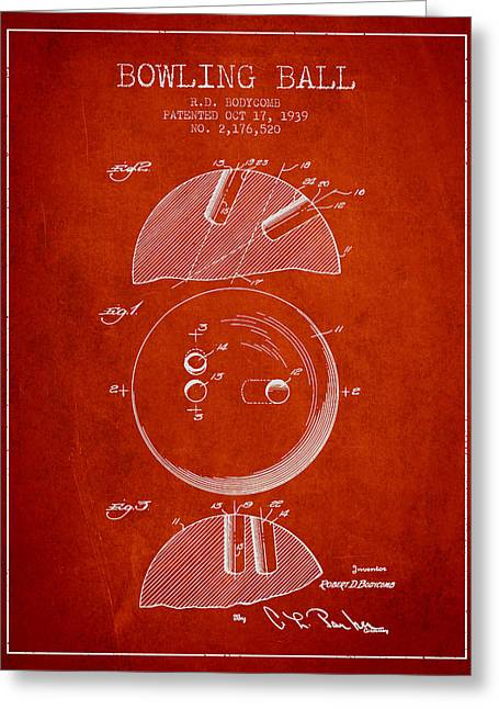 Carpet Drawings Greeting Cards - 1939 Bowling Ball Patent - Red Greeting Card by Aged Pixel