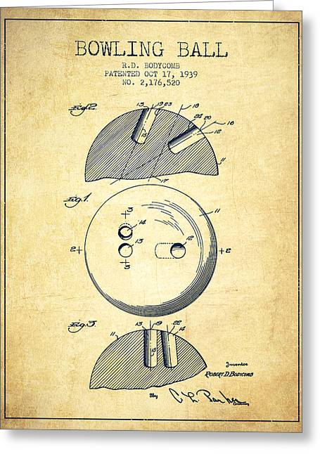 Boule Greeting Cards - 1939 Bowling Ball Patent - Vintage Greeting Card by Aged Pixel