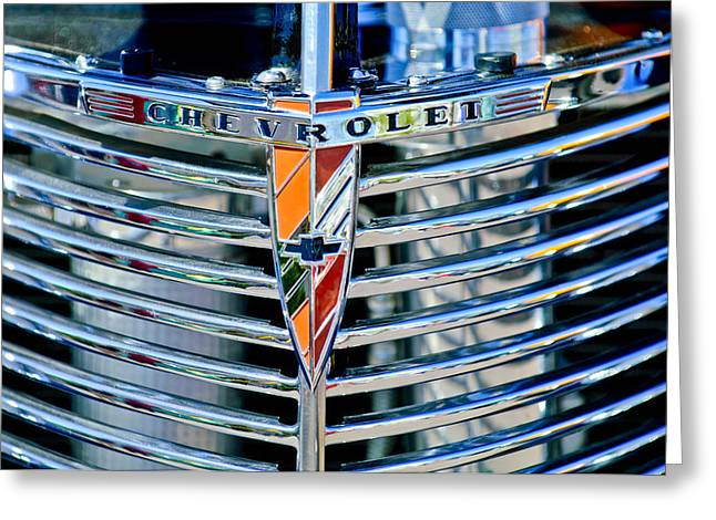 1939 Greeting Cards - 1939 Chevrolet Coupe Grille Emblem Greeting Card by Jill Reger