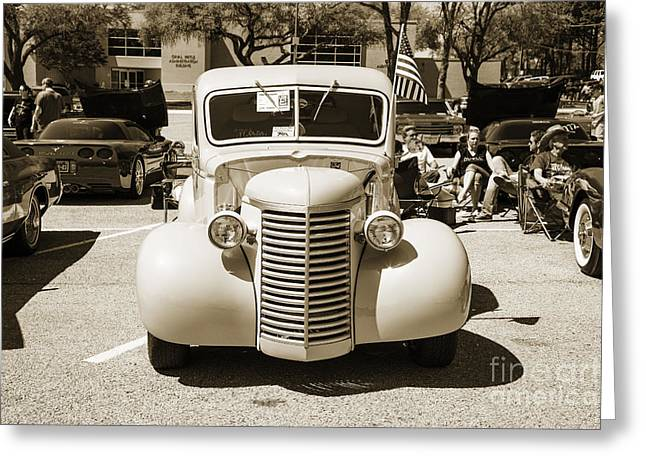 Photography Of Framed Pictures Greeting Cards - 1939 Chevrolet Pickup Antique at Car Show in Sepia 3518.01 Greeting Card by M K  Miller