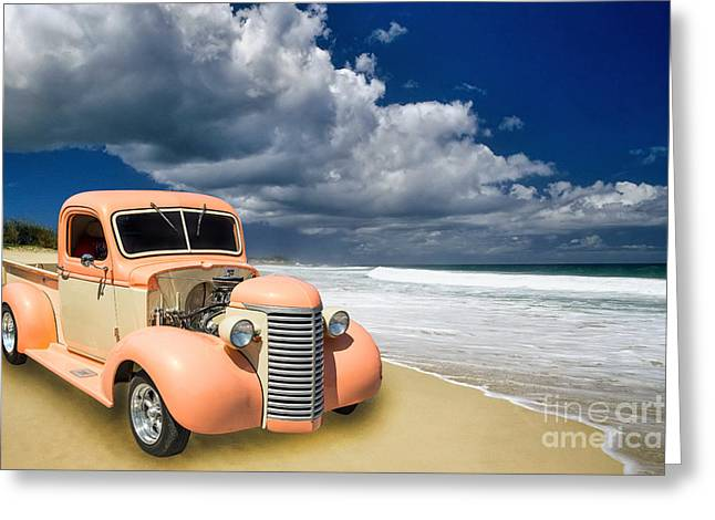 Photography Of Framed Pictures Greeting Cards - 1939 Chevrolet Pickup Antique Car on Beach in Color 3517.02 Greeting Card by M K  Miller