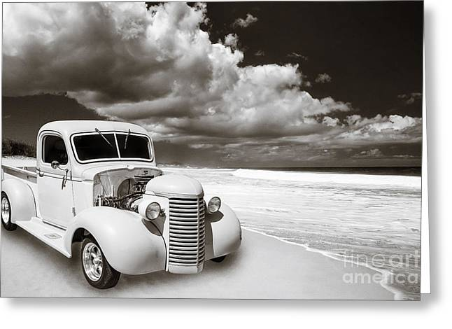 Photography Of Framed Pictures Greeting Cards - 1939 Chevrolet Pickup Antique Car on Beach in Sepia 3517.01 Greeting Card by M K  Miller