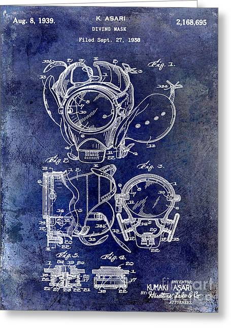 Diva Photographs Greeting Cards - 1939 Dive Mask Blue Greeting Card by Jon Neidert