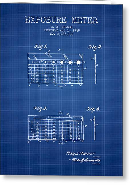 Camera Greeting Cards - 1939 Exposure Meter Patent - blueprint Greeting Card by Aged Pixel