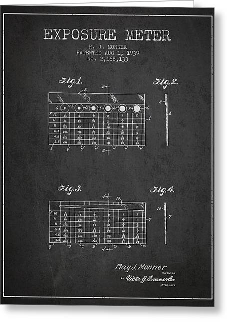 Exposure Drawings Greeting Cards - 1939 Exposure Meter Patent - charcoal Greeting Card by Aged Pixel