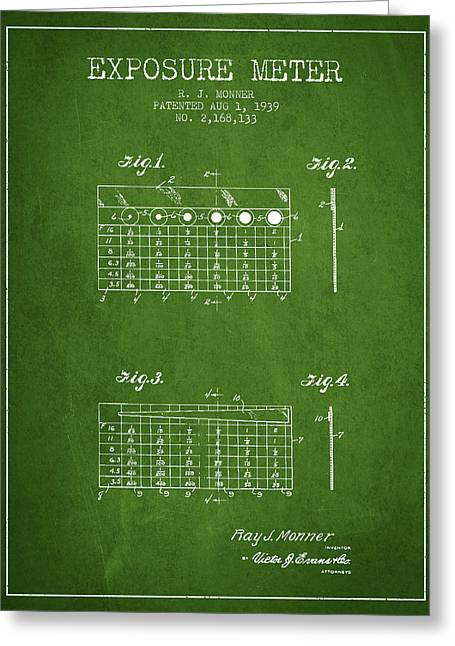 Exposure Drawings Greeting Cards - 1939 Exposure Meter Patent - green Greeting Card by Aged Pixel