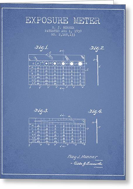 Exposure Drawings Greeting Cards - 1939 Exposure Meter Patent - light blue Greeting Card by Aged Pixel