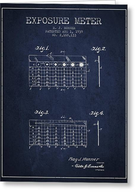 Exposure Drawings Greeting Cards - 1939 Exposure Meter Patent - navy blue Greeting Card by Aged Pixel