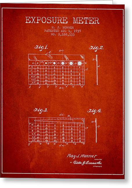Exposure Drawings Greeting Cards - 1939 Exposure Meter Patent - red Greeting Card by Aged Pixel