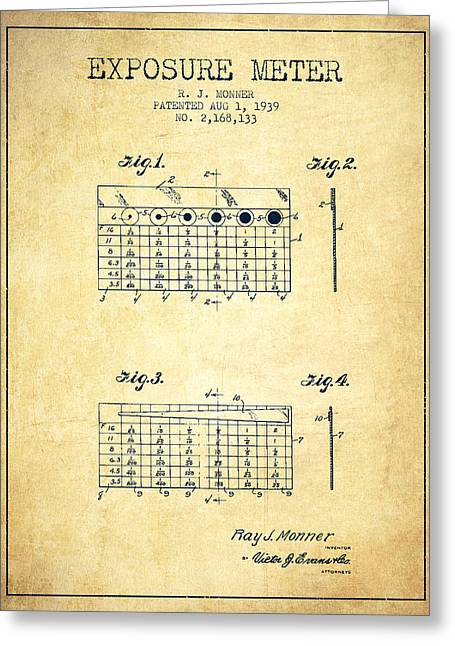 Exposure Drawings Greeting Cards - 1939 Exposure Meter Patent - vintage Greeting Card by Aged Pixel