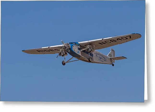 Ford Tri-motor Greeting Cards - 1939 Ford Tri Motor Airplane Greeting Card by Roger Mullenhour