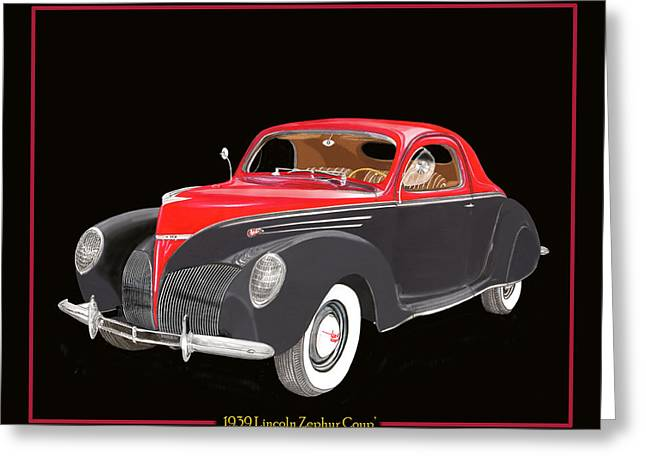 Carry Paintings Greeting Cards - 1939 Lincoln Zephyr Coupe Greeting Card by Jack Pumphrey