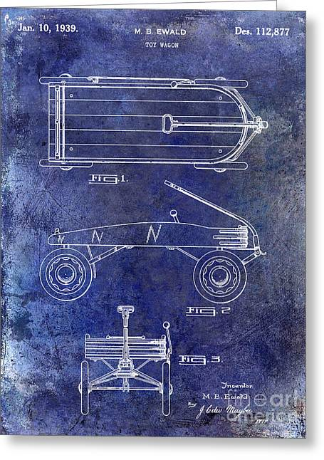 Flyer Greeting Cards - 1939 Toy Wagon Patent Blue Greeting Card by Jon Neidert