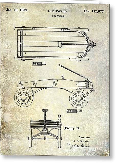Flyer Greeting Cards - 1939 Toy Wagon Patent  Greeting Card by Jon Neidert