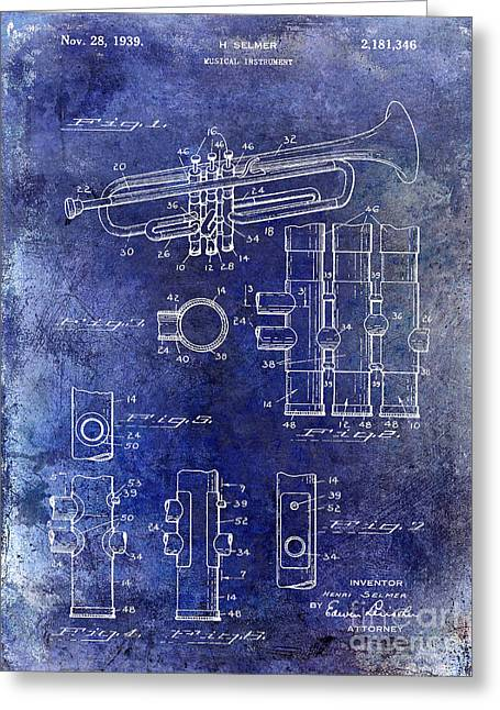 Marching Band Greeting Cards - 1939 Trumpet Patent Blue Greeting Card by Jon Neidert