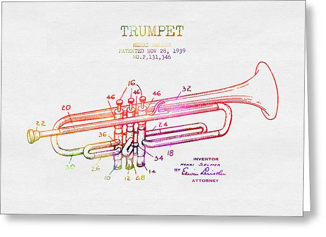 1939 Trumpet Patent - Color Greeting Card by Aged Pixel