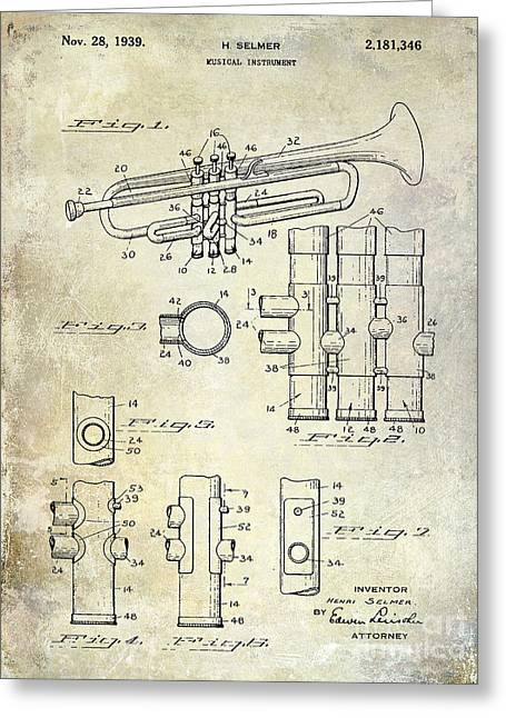 Marching Band Greeting Cards - 1939 Trumpet Patent Greeting Card by Jon Neidert