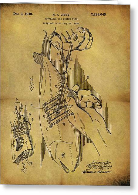 1940 Boning Fish Patent Greeting Card by Dan Sproul