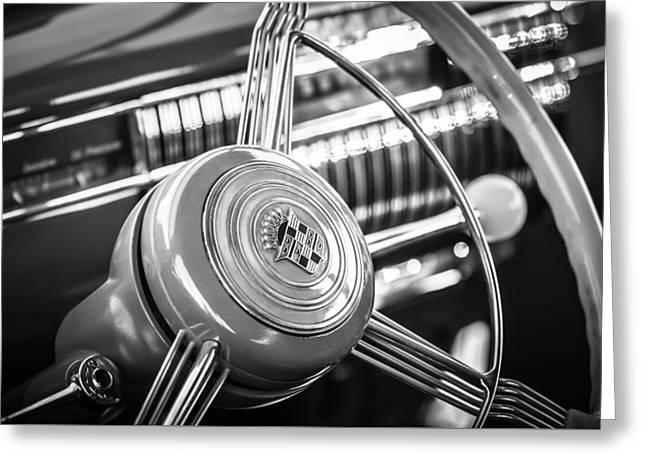Steering Greeting Cards - 1940 Cadillac 60 Special Sedan Steering Wheel -197bw Greeting Card by Jill Reger