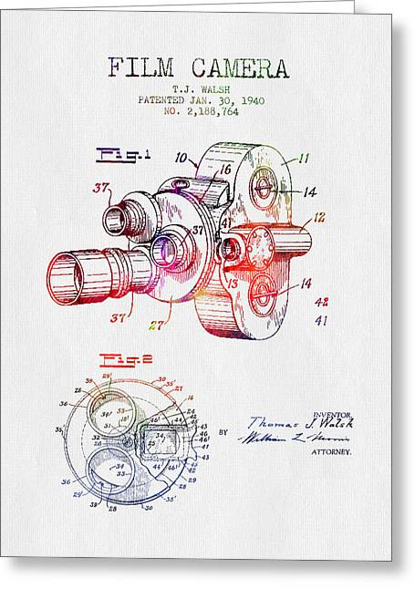 Camera Greeting Cards - 1940 Film Camera Patent - Color Greeting Card by Aged Pixel