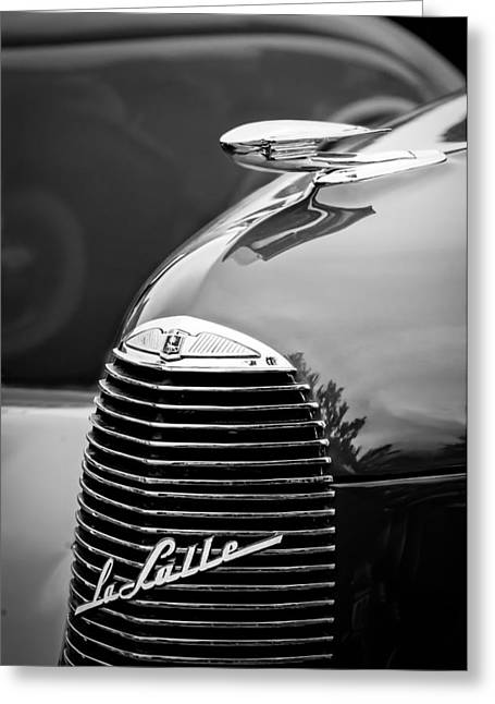 Lasalle Greeting Cards - 1940 LaSalle Series 52 Grille Emblem - Hood Ornament -2312bw Greeting Card by Jill Reger