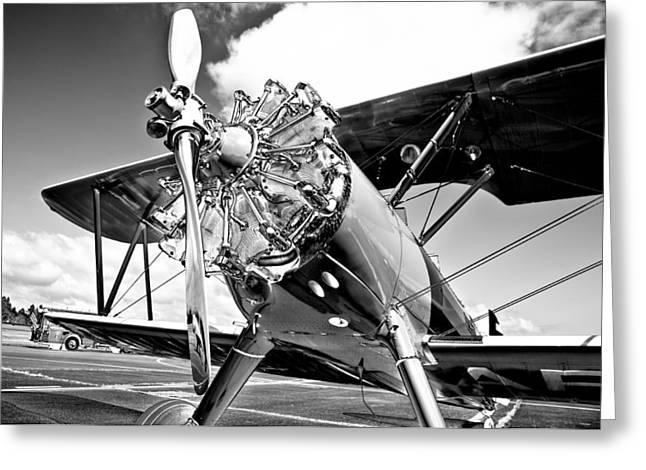 Plane Radial Engine Greeting Cards - 1940 Stearman Biplane Greeting Card by David Patterson