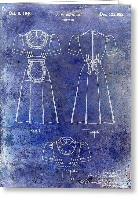 Burger Greeting Cards - 1940 Waitress Uniform Patent Blue Greeting Card by Jon Neidert