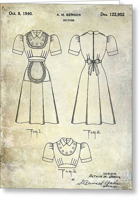 Burger Greeting Cards - 1940 Waitress Uniform Patent Greeting Card by Jon Neidert