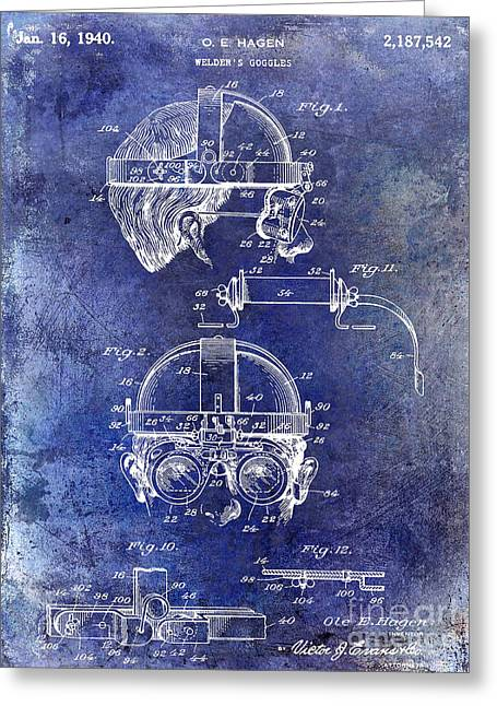 Welding Greeting Cards - 1940 Welders Goggles Patent Blue Greeting Card by Jon Neidert