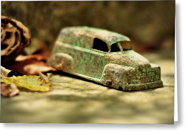 Collectors Toys Photographs Greeting Cards - 1940s Green Chevy Sedan Style Toy Car Greeting Card by Rebecca Sherman