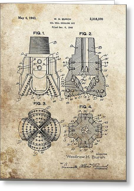 Rotate Greeting Cards - 1940s Oil Drill Bit Patent Greeting Card by Dan Sproul