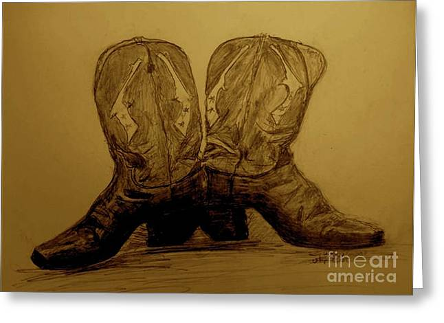 Ledge Drawings Greeting Cards - 1940s Viintage Cowboy Boots Greeting Card by Susan Gahr