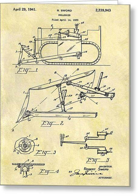 1941 Bulldozer Patent Greeting Card by Dan Sproul