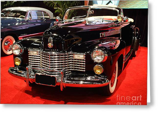 1941 Cadillac Series 62 Convertible Coupe . Front Angle Greeting Card by Wingsdomain Art and Photography